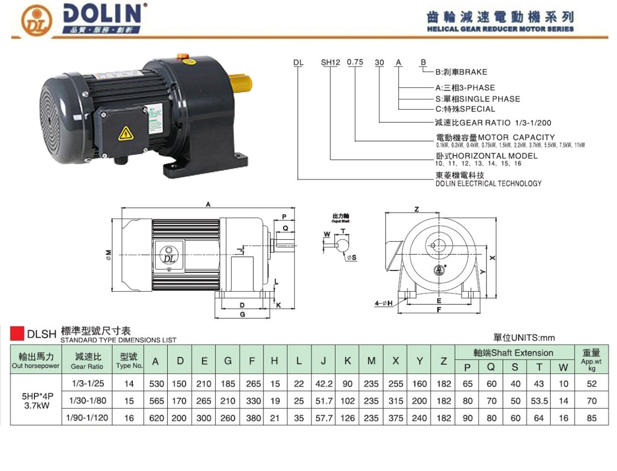 3.7kw gear motor catalogues